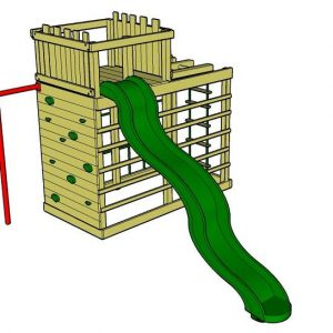 Monkey Climber wooden climbing frame with fort and slide