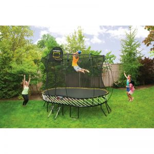 Oval Springfree Trampoline 8 x 11ft with enclosure