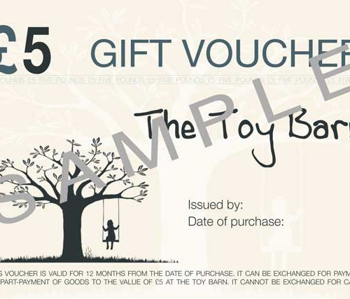 5 pound gift voucher for The Toy Barn