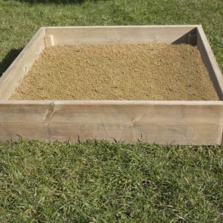 Wooden sandpit handmade at The Toy Barn