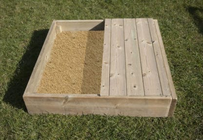 Wooden sandpit with lid